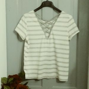 NWOT WHITE GREY STRIPE CRISS CROSS SHIRT/ MARLOW